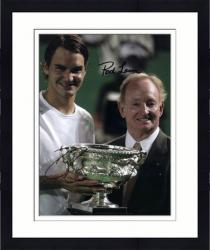 "Framed Roger Federer & Rod Laver Dual Autographed 8"" x 10"" Trophys Photograph"