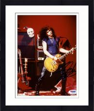 "Framed Slash Autographed 8""x 10"" Guns N' Roses Playing Guitar Red Background Photograph - PSA/DNA COA"