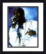 """Framed Snoop Dogg Autographed 11"""" x 14"""" Singing in Concert Photograph - PSA/DNA COA"""