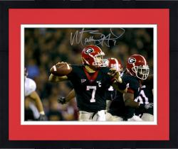 Framed Matt Stafford Georgia Bulldogs Autographed 16'' x 20'' Black Jersey Throw Horizontal Photograph