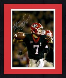 Framed Matt Stafford Georgia Bulldogs Autographed 16'' x 20'' Black Jersey Throw Vertical Photograph