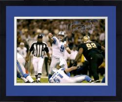 Framed Matt Stafford Detroit Lions Autographed 16'' x 20'' After Throw Photograph