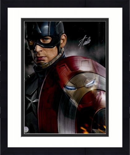 """Framed Stan Lee Autographed 16"""" x 20"""" Cap/Iron Man Vetical Photograph with Silver Ink - BAS COA"""