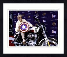Framed Stan Lee Autographed 16'' x 20'' Captain America On Bike Photograph