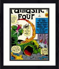 "Framed Stan Lee Autographed 16"" x 20"" Fantastic Four #1 Photograph with Black Ink - BAS COA"