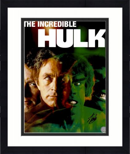 "Framed Stan Lee Autographed 16"" x 20"" Hulk TV Show Photograph with Black Ink - BAS COA"