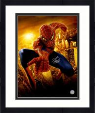 "Framed Stan Lee Autographed 16"" x 20"" Spider Man Skyline Photograph with Silver Ink - BAS COA"