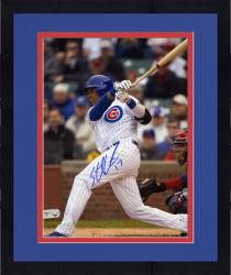 "Framed Starlin Castro Chicago Cubs Autographed 8"" x 10"" Hit Photograph"