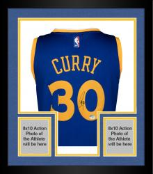Framed Stephen Curry Golden State Warriors Autographed adidas Swingman Blue Jersey