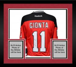 Framed Stephen Gionta New Jersey Devils Autographed Red Reebok Premier Jersey