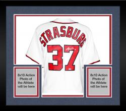 Framed Stephen Strasburg Washington Nationals Autographed Majestic Replica Jersey - Mounted Memories  - Mounted Memories