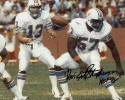 """Framed Dwight Stephenson Miami Dolphins Autographed 8"""" x 10"""" with Dan Marino Photograph with HOF 98 Inscription"""