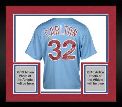 "Framed Steve Carlton Philadelphia Phillies Autographed Majestic Blue Replica Jersey with ""HOF 94"" Inscription"