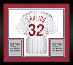 "Framed Steve Carlton Philadelphia Phillies Autographed Majestic White Replica Jersey with ""HOF 94"" Inscription"