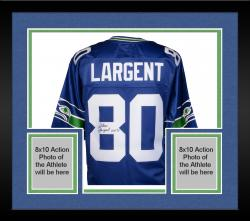 Framed Steve Largent Seattle Seahawks Autographed Pro-Line Authentic Jersey with HOF 95 Inscription
