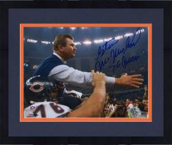 "Framed Steve McMichael Chicago Bears Autographed 8"" x 10"" Holding Mike Ditka Photograph with ""76 Bears"" Inscription"