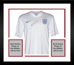Framed Steven Gerrard England Autographed White Home Front Jersey - Mounted Memories