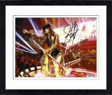"""Framed Steven Tyler Autographed 11"""" x 14"""" Aerosmith Leaning With Microphone Photograph - PSA/DNA COA"""