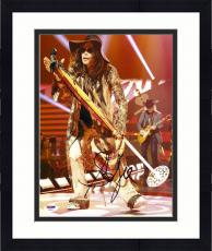 "Framed Steven Tyler Autographed 11"" x 14"" Aerosmith Wearing Brown Hat Red Background Photograph - PSA/DNA COA"