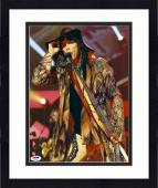 "Framed Steven Tyler Autographed 11"" x 14"" Aerosmith Wearing Hat Lifting Sun Glasses Photograph - PSA/DNA COA"