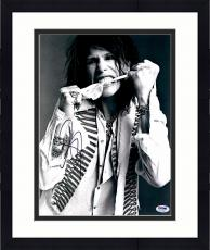 "Framed Steven Tyler Autographed 11"" x 14"" Biting Scarf Photograph - PSA/DNA COA"