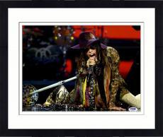 "Framed Steven Tyler Autographed 11"" x 14"" Singing Crawling on Floor Photograph - PSA/DNA COA"