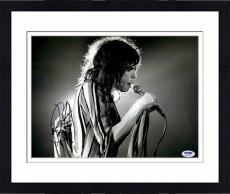 """Framed Steven Tyler Autographed 11"""" x 14"""" Singing while Holding Microphone Black & White Photograph - PSA/DNA COA"""