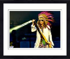 """Framed Steven Tyler Autographed 11"""" x 14"""" Singing with Colorful Scarf Photograph - PSA/DNA COA"""