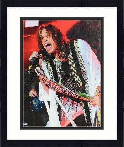 "Framed Steven Tyler Autographed 16""x 20"" Aerosmith Stretched Canvas - BAS COA"