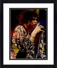 """Framed Steven Tyler Autographed 8"""" x 10"""" Aerosmith Singing into Microphone With Messy Hair Photograph - Beckett COA"""