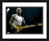"""Framed Sting Autographed 11"""" x 14"""" Playing Guitar Wearing White Shirt Photograph - Beckett COA"""