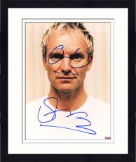 """Framed Sting Autographed 8""""x 10"""" Posing in White Shirt Photograph With Hand Drawn Glasses - PSA/DNA COA"""