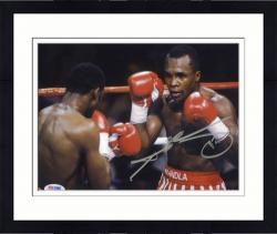 "Framed Sugar Ray Leonard Autographed 8"" x 10"" Horizontal Action  Photograph"