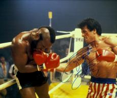 """Framed Sylvester Stallone Autographed 20"""" x 24"""" Rocky - Fighting Mr. T Photograph - Beckett COA"""
