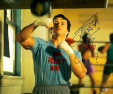 "Framed Sylvester Stallone Autographed 20"" x 24"" Rocky - Punching Speed Bag Photograph - Beckett COA"