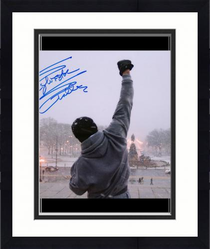 "Framed Sylvester Stallone Rocky Autographed 16"" x 20"" Top of Steps Photograph - Beckett"