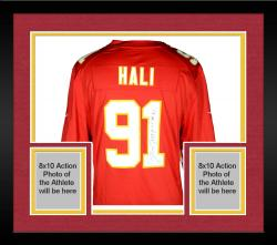 Framed Tamba Hali Kansas City Chiefs Autographed Nike Replica Red Jersey