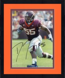 Framed Darryl Tapp Virginia Tech Hokies Autographed 8'' x 10'' Running Without Ball Solo Photograph