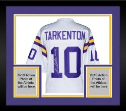 "Framed Fran Tarkenton Autographed Vikings Jersey with ""HOF 86"" Inscription"