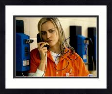"Framed Taylor Schilling Autographed 11"" x 14"" Orange is The New Black Chapman Talking on Jail Phone Photograph - Beckett COA"