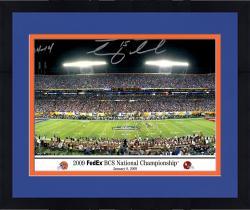 Framed Tim Tebow, Urban Meyer Florida Gators Autographed 10'' x 30'' Photograph with 24-14 Inscription
