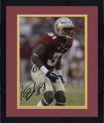 Framed Terrence Brooks Florida State Seminoles Autographed 8'' x 10'' Red Uniform Stance Photograph