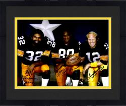 "Framed Terry Bradshaw, Lynn Swann & Franco Harris Pittsburgh Steelers Triple Autographed 16"" x 20"" Super Bowl MVPs Photograph with ""SB IX MVP, SB X MVP, SB XIII, XIV"" Inscription"