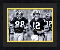 "Framed Terry Bradshaw & Lynn Swann Pittsburgh Steelers Dual Autographed 16"" x 20"" Black & White Jogging Photograph"