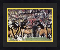 "Framed Terry Bradshaw Pittsburgh Steelers Autographed 8"" x 10"" Handoff to Franco Harris Photograph"