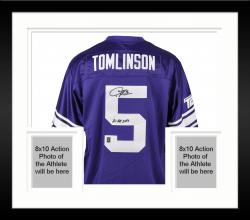 "Framed Texas Christian University LaDainian Tomlinson Autographed ""2138 Yards"" Jersey"