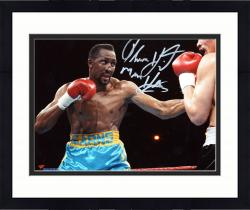 "Framed Thomas Hearns Autographed 8"" x 10"" Horizontal Teal Trunks Photograph"