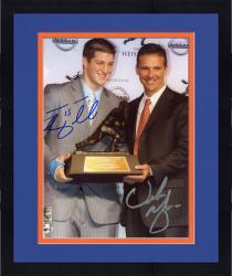 "Framed Tim Tebow and Urban Meyer Florida Gators Autographed 8"" x 10"" Heisman Trophy Presentation Photograph"