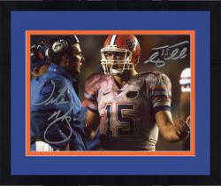 """Framed Tim Tebow and Urban Meyer Florida Gators Autographed 8"""" x 10"""" Talking on Sidelines Photograph"""