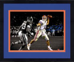 "Framed Tim Tebow Florida Gators Autographed 11"" x 14""  Throw In BCS Game vs Oklahoma Spotlight Photograph"